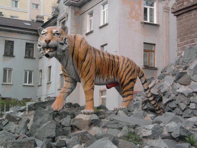 Скульптура тигр во Владивостоке